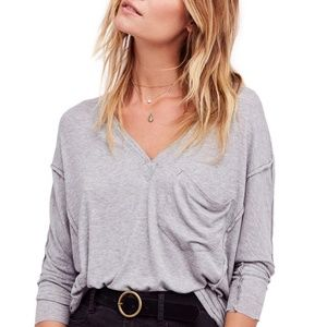 WE THE FREE PEOPLE GOLDEN GATE GRAY SLOUCHY TOP S